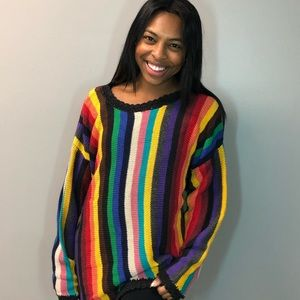 Sweaters - Rainbow knit oversized sweater